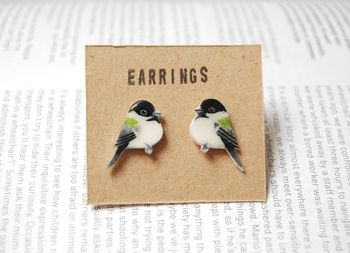 Hand Drawn Chickadee Earrings