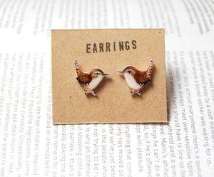Hand Drawn Wren Earrings - women's jewellery