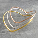 Mixed Gold And Silver Curved Heart Stacking Bangle