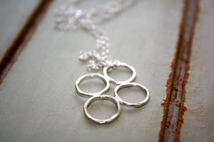 Handmade Four Silver Circle Necklace