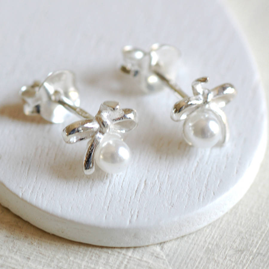Tiny Silver Bow Pearl Stud Earrings