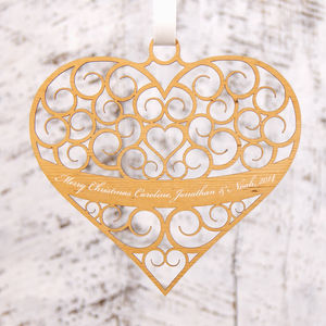 Personalised Heart Christmas Decoration - tree decorations