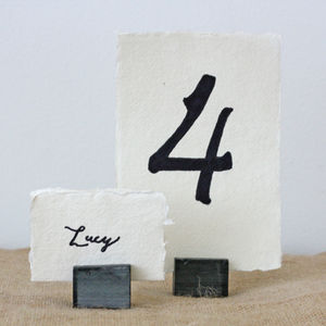 Four Slate Place Card Table Number Holders - dining room