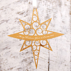 Personalised Star Christmas Decoration - tree decorations