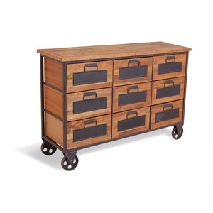 Industrial Vintage Low Apothecary Chest - furniture