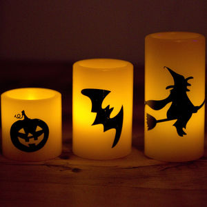 Set Of Three Halloween Battery LED Candles - candles & candlesticks