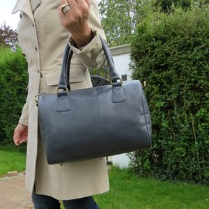 Leather Bowling Bag, Navy Blue