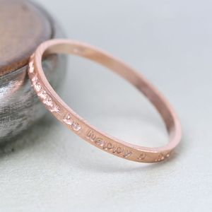 Rose Gold 'Be Happy' Band Ring - rings