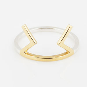 Perthro Gold And Silver Two Tone Ring - women's jewellery