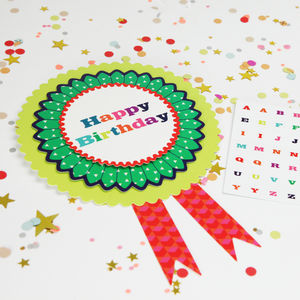 Customisable Happy Birthday Rosette - fancy dress