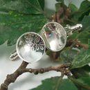 Sterling Silver Oak Leaf Pattern Cufflinks