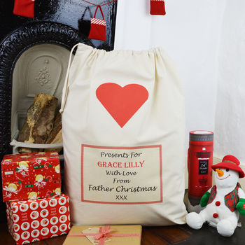 Personalised Heart Christmas Sack