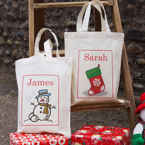 Personalised Mini Christmas Tote Bag - cards & wrap