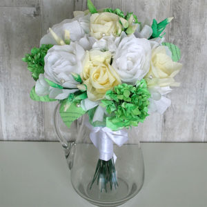 White Rose And Hydrangea Paper Bouquet - room decorations