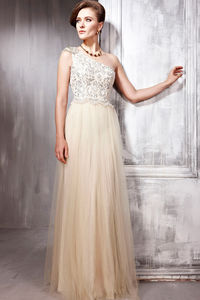 Champagne One Shoulder Soft Tulle Wedding Dress - dresses