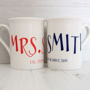 Personalised Mr And Mrs Wedding Mug Set - mugs