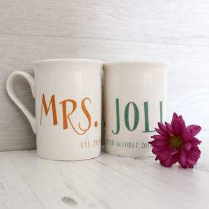 Personalised Wedding Mug Set For Couples - home