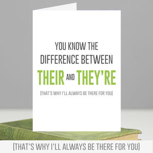 'Their And They're' Grammar Birthday Card - birthday cards