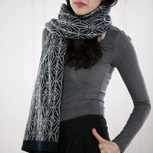 Knitted Lambswool Kaleidoscope Scarf | Petrol