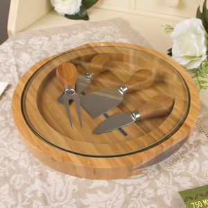 Four Piece Wood And Glass Cheese Serving Set - christmas home accessories