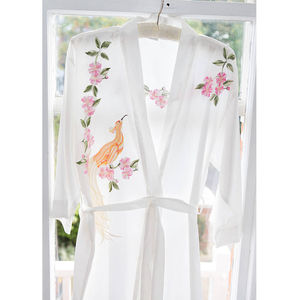 Embroidered Bird Of Paradise Kimono Robe - lingerie nightwear