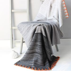 Sunset Knitted Lambswool Throw - soft colour pop