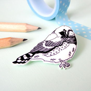 Zebra Finch Illustrated Bird Brooch