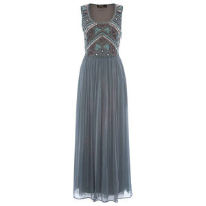 Embellished Bodice Maxi Dress In Green/Grey Chiffon - evening dresses