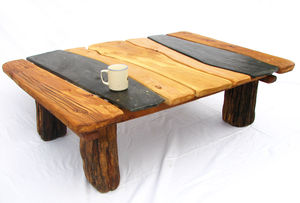 Wood and Slate Coffee Table