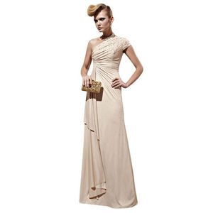 Beige Asymmetrical Evening Dress With Beading - dresses