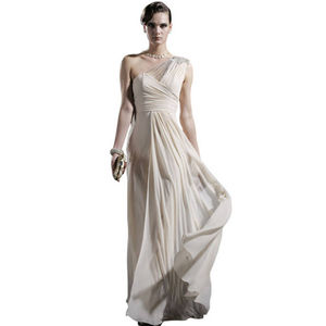 Cream Single Strap Wedding Dress With Embellishments - wedding fashion