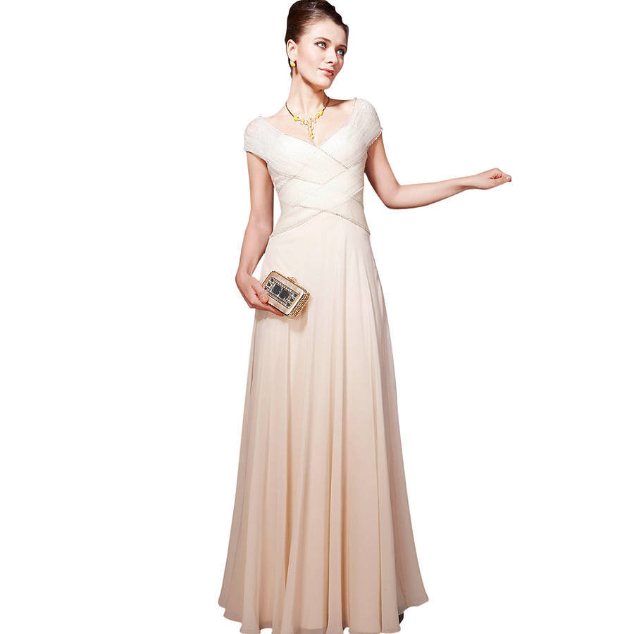 Cream weave floor length bridesmaid dress by elliot claire for Dresses for wedding bridesmaid