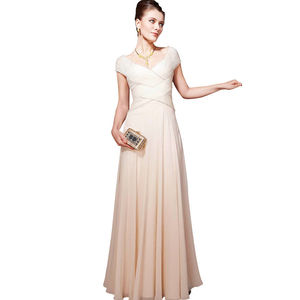 Cream Weave Floor Length Bridesmaid Dress - women's fashion