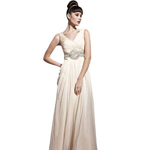 Beige Chiffon Wedding Dress With Jewelled Belt - dresses