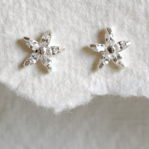 Diamante Star Flower Earrings - earrings