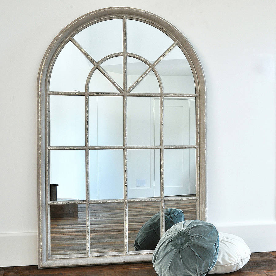 Grey arched window mirror by primrose plum Window pane mirror