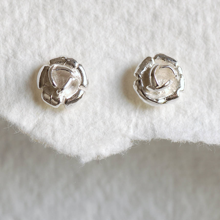 sterling silver rose stud earrings by highland angel. Black Bedroom Furniture Sets. Home Design Ideas