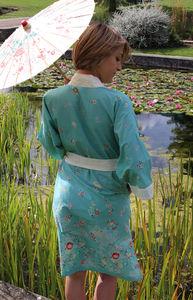 Floral Lagoon Short Kimono Dressing Gown - swimwear & beachwear