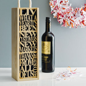 Personalised Bottle Box - special work anniversary gifts