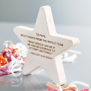Personalised Wooden Star Award - special work anniversary gifts