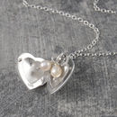 Sterling Silver Heart Pearl Locket Necklace