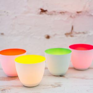 Porcelain Tea Lights, Neon - table decorations
