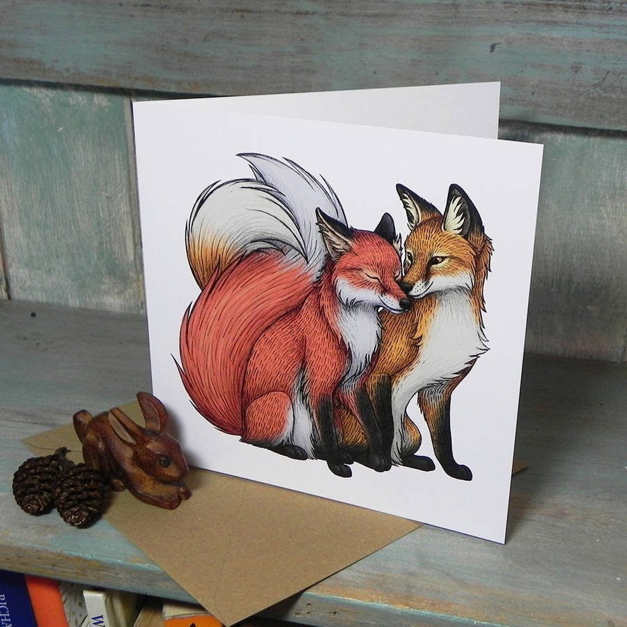 fox couple illustration square greetings card by lyndsey green illustration