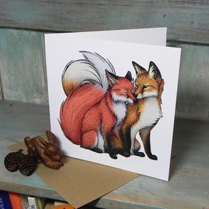 Fox Couple Illustration Square Greetings Card - blank cards
