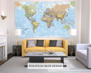 Giant Sized Canvas World Map - living room