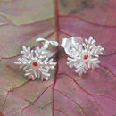 Red Sapphire Silver Snowflake Christmas Stud Earrings