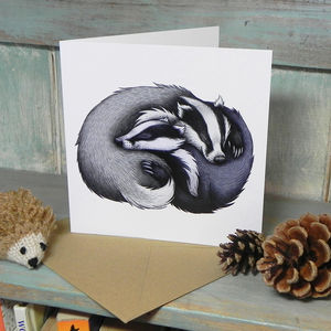 Badger Couple Illustration Square Greetings Card - blank cards