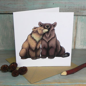 Bear Couple Illustration Square Greetings Card