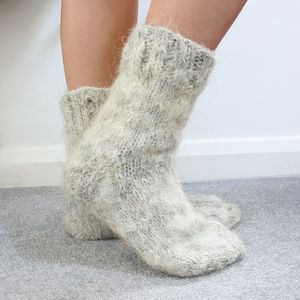 Siberian Nomadic Husky Hair And Wool Hand Knitted Socks - socks