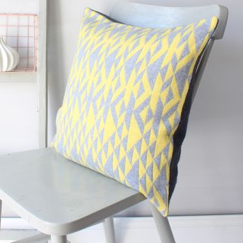 Grey And Yellow 'Pelt' Knitted Cushion